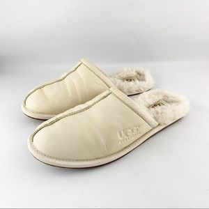 • Ugg Leather Cream Bedroom Slippers •